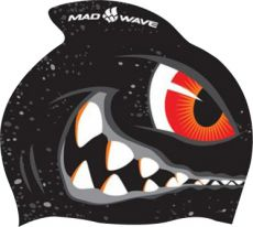Шапочка для плавания Mad Wave Printed Silicone Junior with fin Shark М0542 02 0 00W